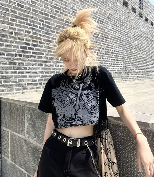 E-girl Gothic Punk Crop Top with gothic print 7