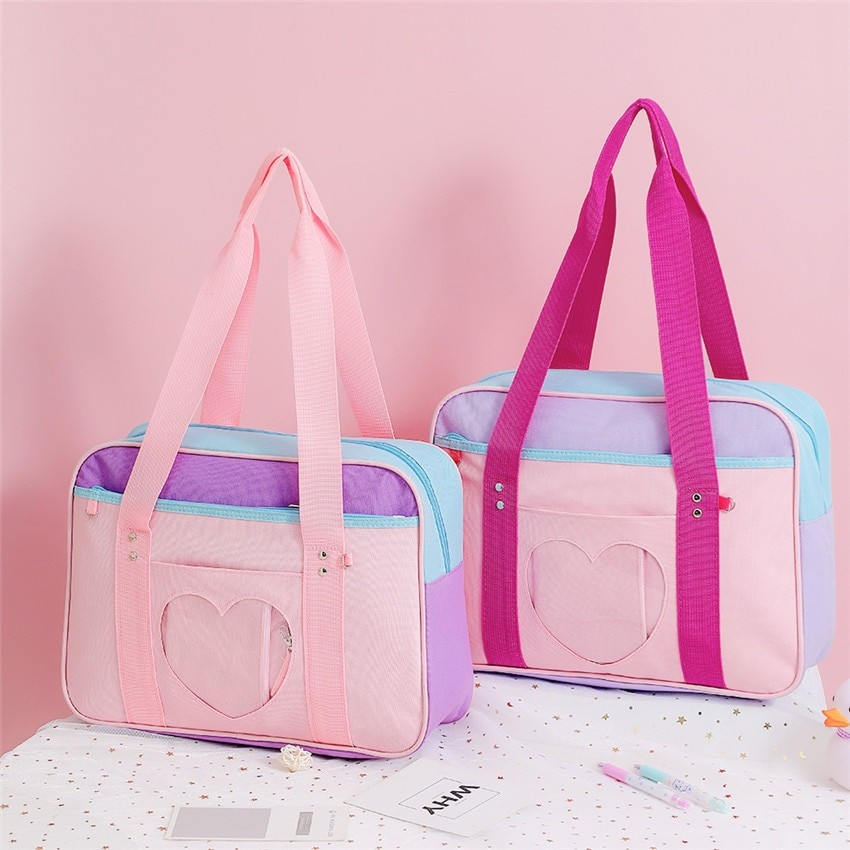 Soft Girl Egirl Harajuku Canvas Large Handbags 45