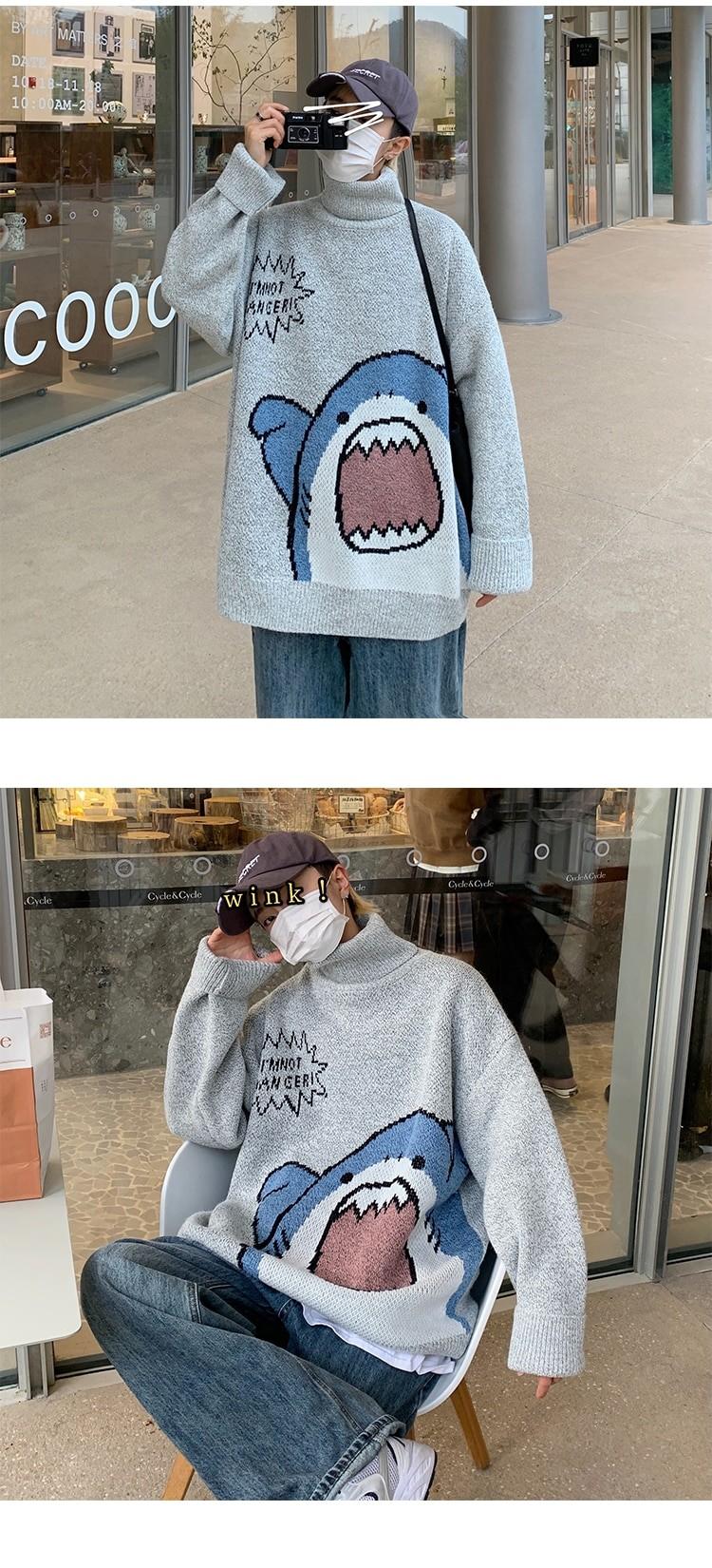 Harajuku E-boy E-girl Turtlenecks Oversized Shark Sweater 42