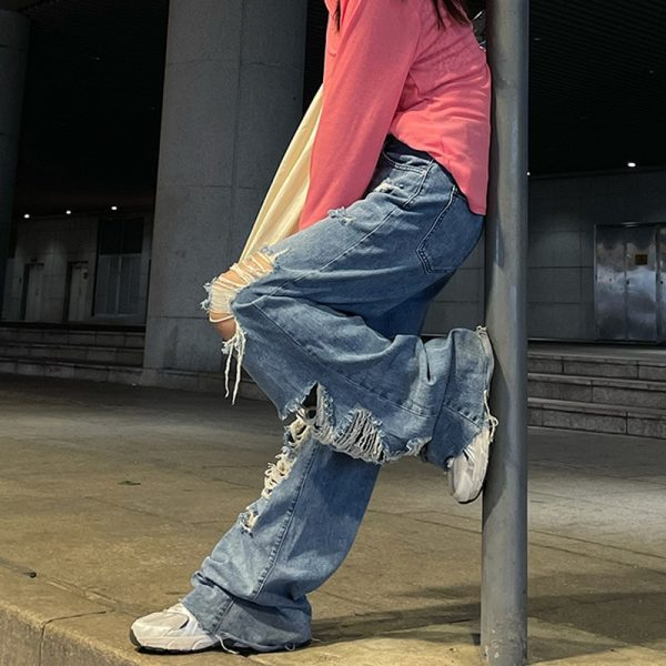 Harajuku Y2K Loose Ripped jeans with high waist 6