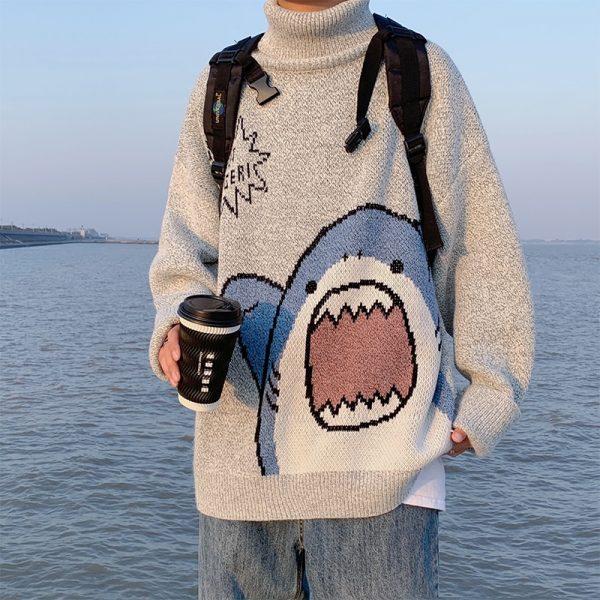 Harajuku E-boy E-girl Turtlenecks Oversized Shark Sweater 8