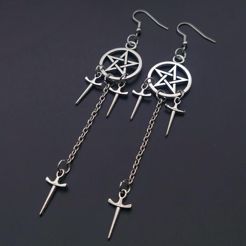 Gothic E-girl E-boy Punk Pentagram Swords Earrings 44