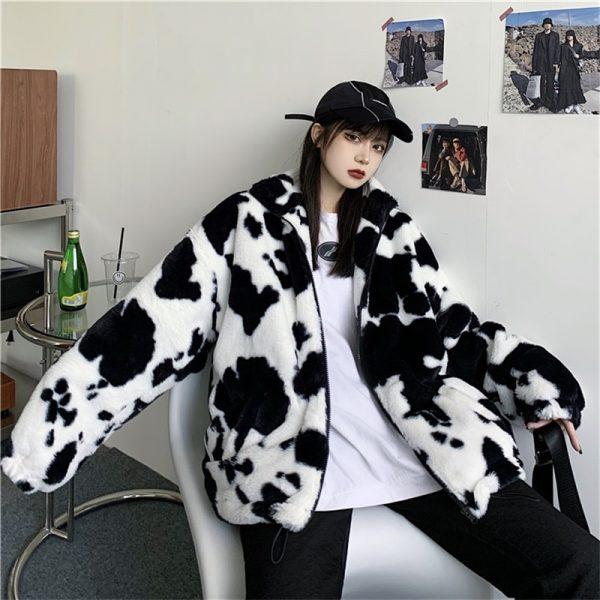 Harajuku E-girl Loose Coat with Cows Printing 2