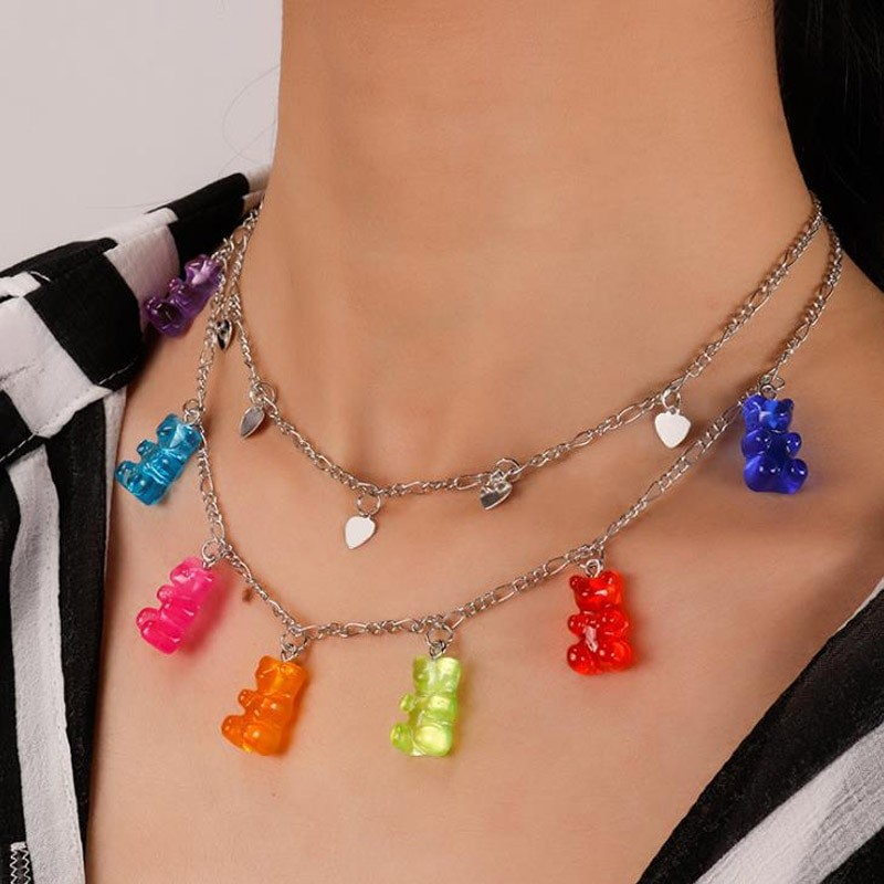 Y2K Soft girl Indie Kid Candy Color Gummy Mini Bear Necklace 54