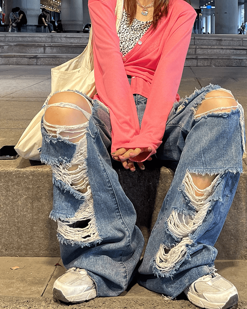 Harajuku Y2K Loose Ripped jeans with high waist 45