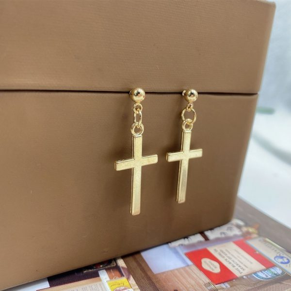 E-girl E-boy Gothic Punk Cross Pendant Drop Dangle Earrings 2