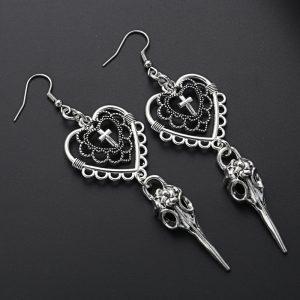 E-girl Gothic Punk Heart Cross and Bird Skull Earrings 1