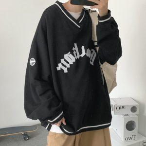 E-boy E-girl Punk Gothic Harajuku V-neck sweatshirt  1