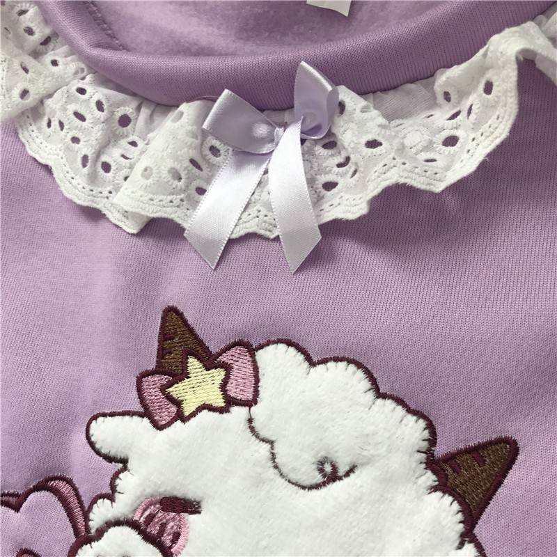 Harajuku Soft girl  Cute Pullover Lamb And Candy Embroidery 46