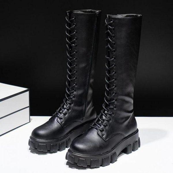 E-girl Gothic Punk Knee-high Pu Boots 3