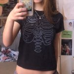 Punk E-girl Gothic Crop top with skeleton print 6