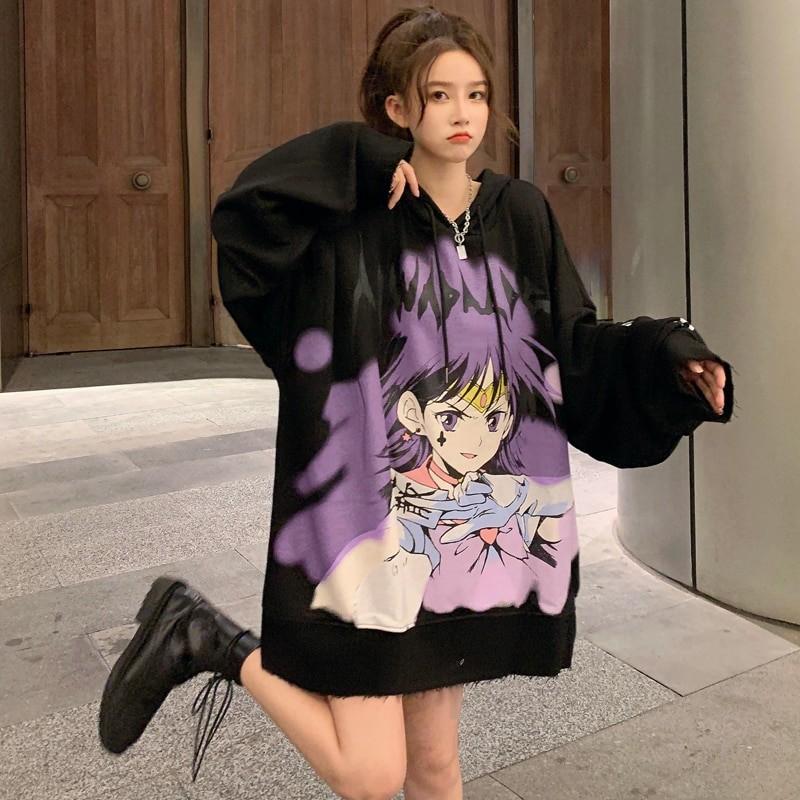 E-girl E-boy Harajuku Anime Cute Girl Oversized Hooded Sweatshirt 42
