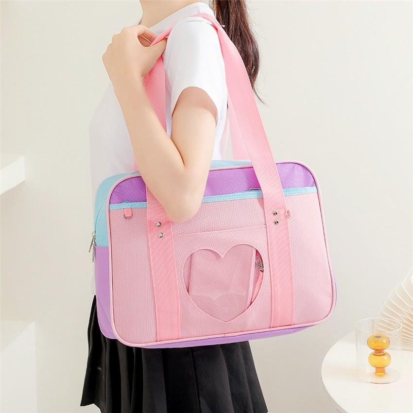 Soft Girl Egirl Harajuku Canvas Large Handbags 43