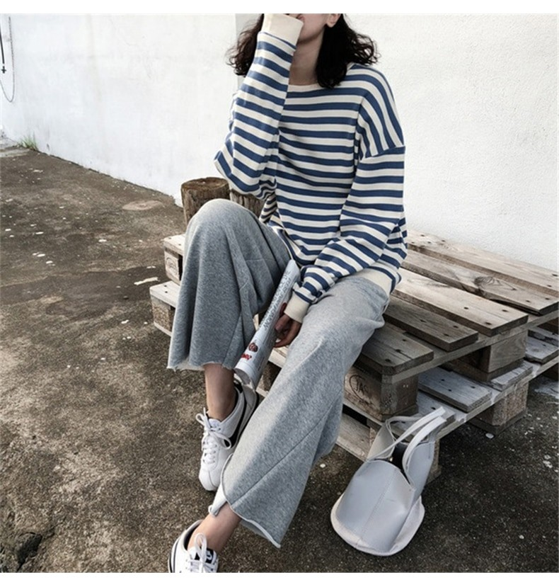 Harajuku E-girl Grunge striped cotton Sweatshirt 42