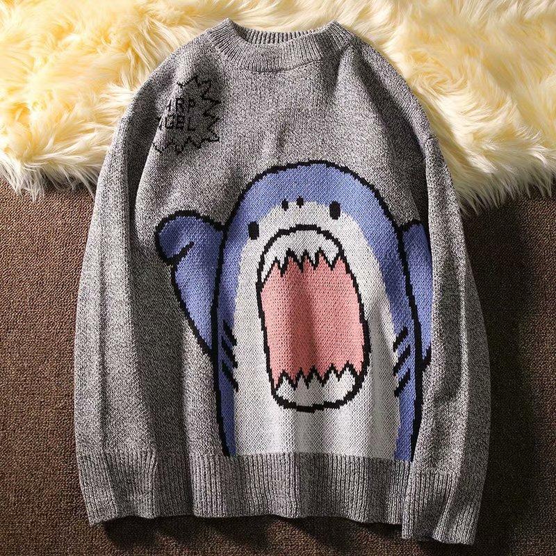 Harajuku E-boy E-girl Turtlenecks Oversized Shark Sweater 49