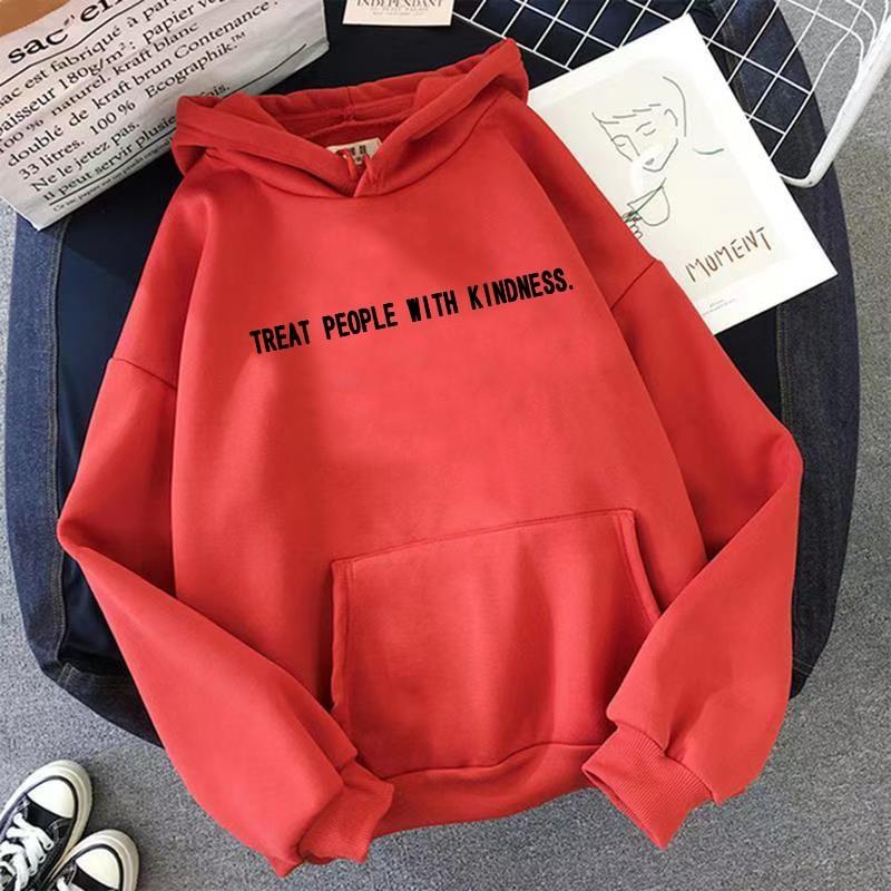 E-girl Harajuku Soft girl Hoodeds with the inscription Treat People with Kindness 49