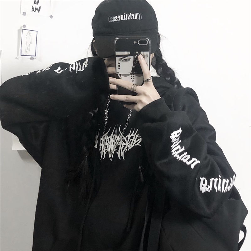 Harajuku Gothic E-girl Loose Hoodie with gothic print 41