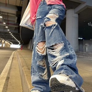 Harajuku Y2K Loose Ripped jeans with high waist 1