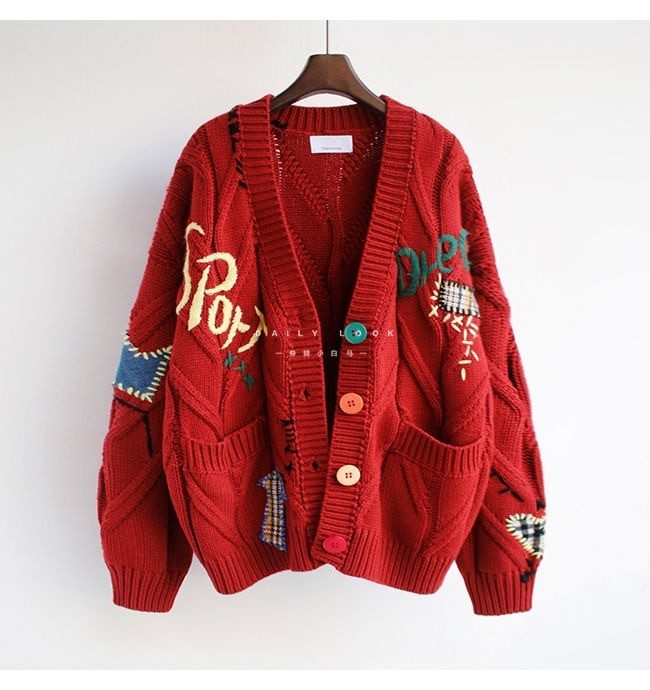 Harajuku Y2K  Cottagecore Loose Knitted Cardigan with Pockets and Embroidery 51