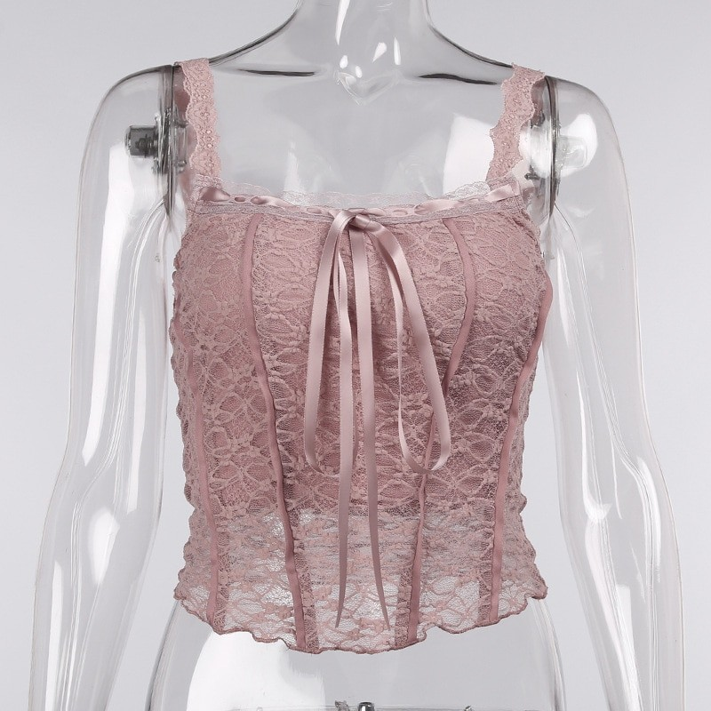 E-girl Soft girl Y2K Retro Bow Lace Top 61