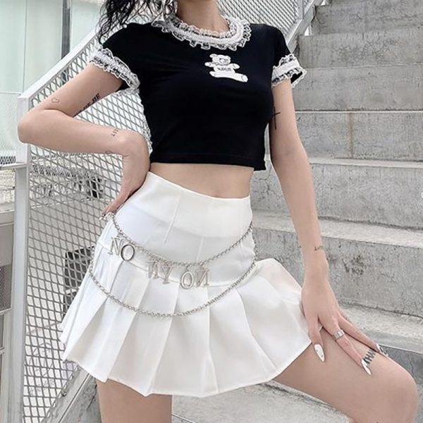 E-girl Gothic Y2K Crop Top with Bear Print 3