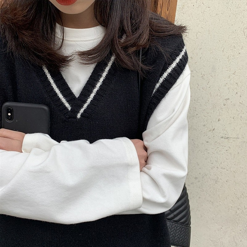 Harajuku Grunge E-girl  V-neck Knitted Vest 45