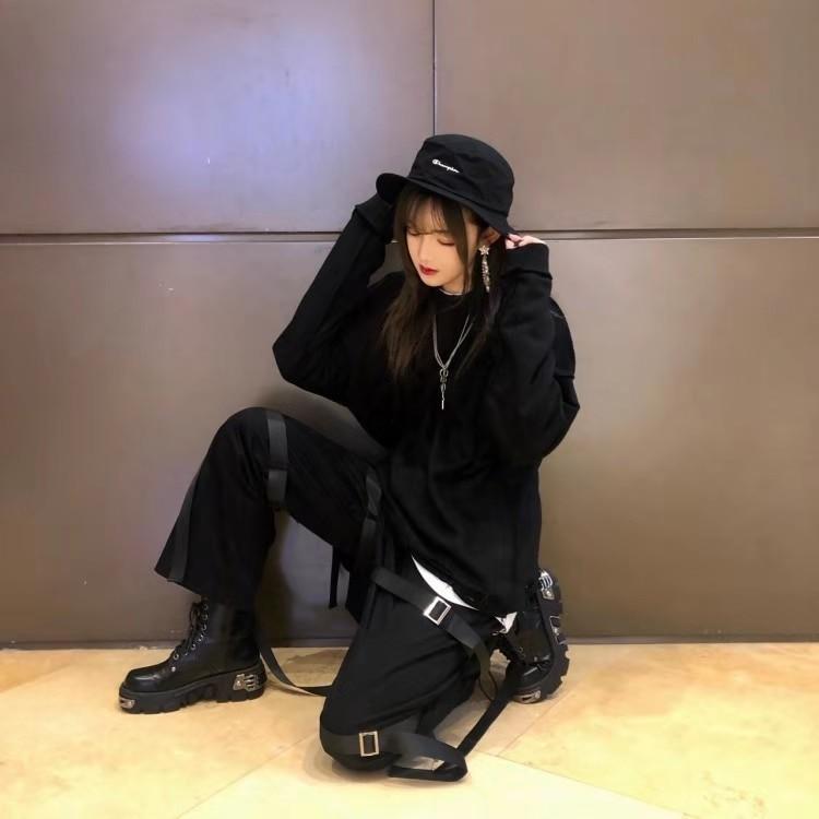 Egirl Punk Style Platform Chunky Shoes with Metal Decor 43