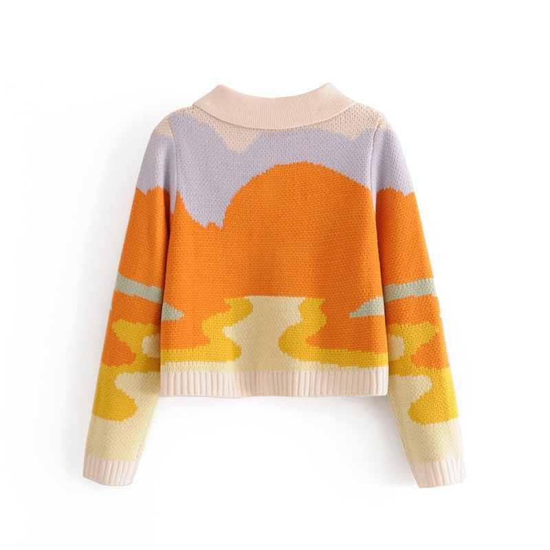 Y2K Soft girl Vintage French Style Sunshine Print Short Knitted Sweater 42