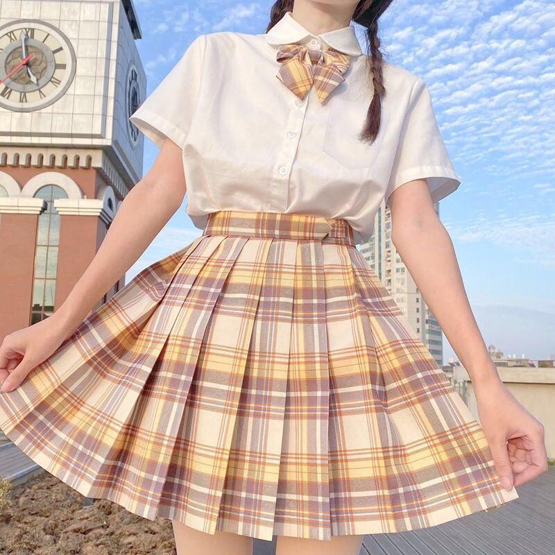 Harajuku E-girl Soft girl Pleated A-Line Plaid Skirts 55