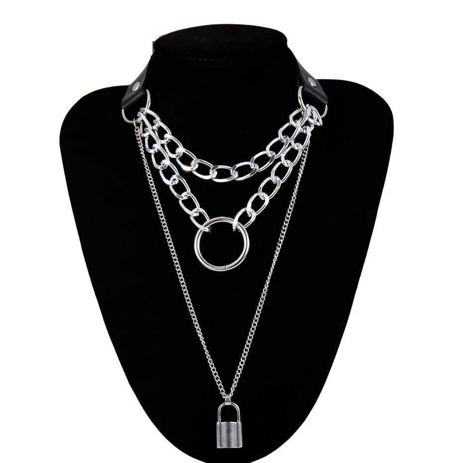 E-girl E-boy Punk Gothic Big Lock Key Angel Pendant Necklace 51