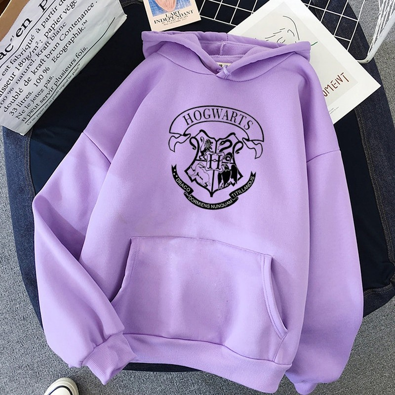 E-girl E-boy Harajuku Fan Hoodie with coat of arms of Hogwarts 42
