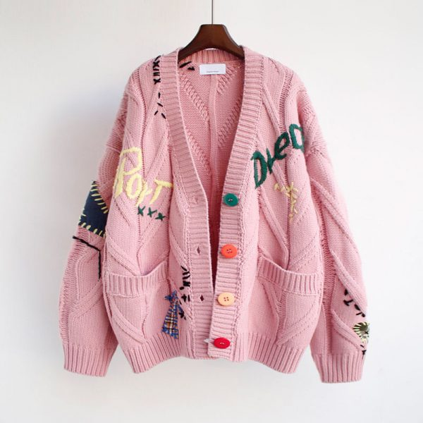 Harajuku Y2K  Cottagecore Loose Knitted Cardigan with Pockets and Embroidery 3