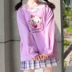 Harajuku Soft girl  Cute Pullover Lamb And Candy Embroidery 11