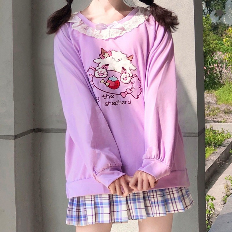 Harajuku Soft girl  Cute Pullover Lamb And Candy Embroidery 44