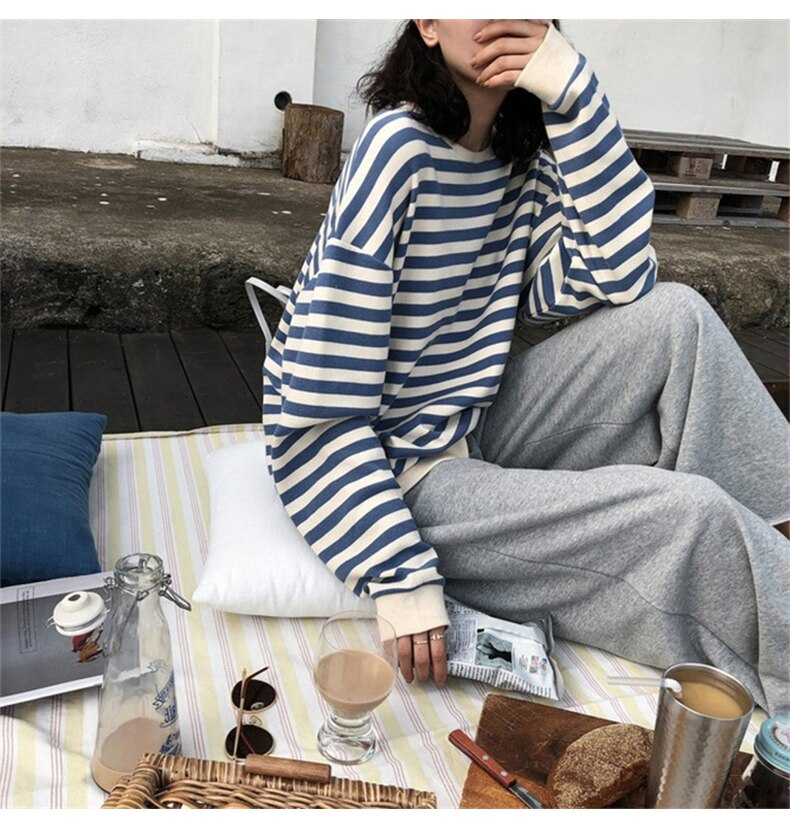 Harajuku E-girl Grunge striped cotton Sweatshirt 46