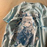 Harajuku E-girl Aesthetic T-Shirt with Anime Gothic cartoon print 2