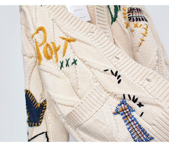 Harajuku Y2K  Cottagecore Loose Knitted Cardigan with Pockets and Embroidery 46