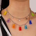 Y2K Soft girl Indie Kid Candy Color Gummy Mini Bear Necklace 5