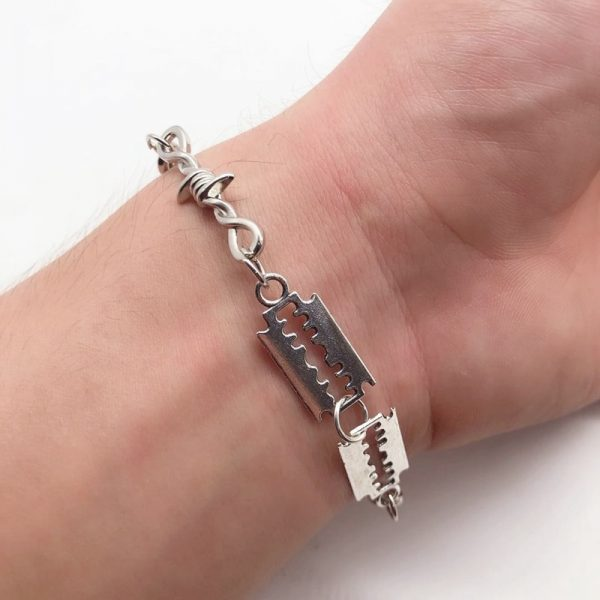 E-boy E-girl Gothic Punk Bracelet with Blades and Barbed wire 5