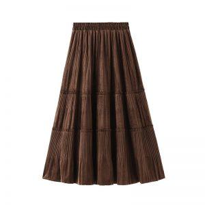 Harajuku Vintage Long Velvet Pleated Skirts 12