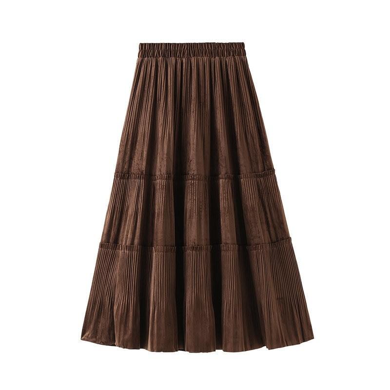 Harajuku Vintage Long Velvet Pleated Skirts 41