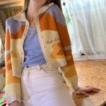 Y2K Soft girl Vintage French Style Sunshine Print Short Knitted Sweater 3