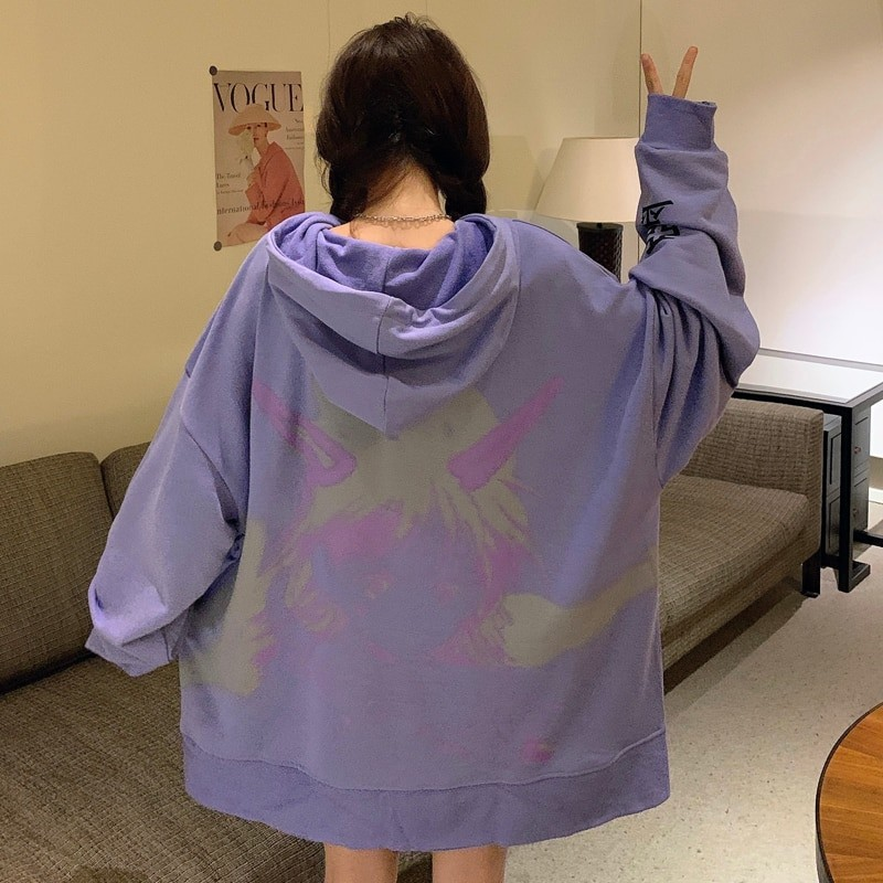 E-girl E-boy Harajuku Anime Cute Girl Oversized Hooded Sweatshirt 50