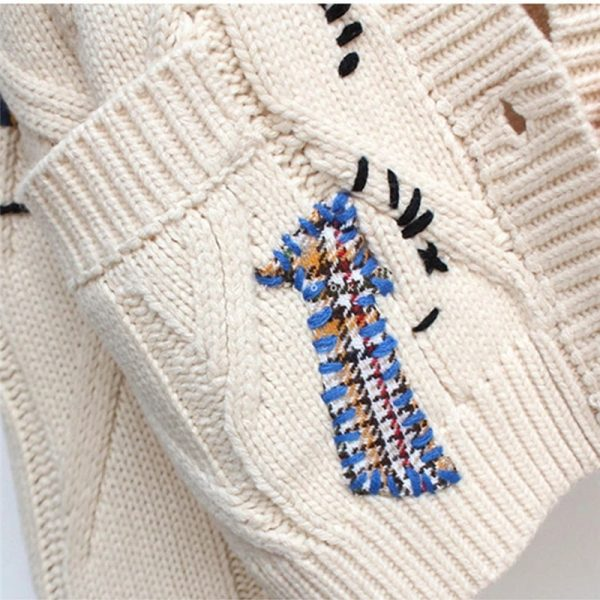 Harajuku Y2K  Cottagecore Loose Knitted Cardigan with Pockets and Embroidery 5
