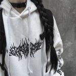 Harajuku Gothic E-girl Loose Hoodie with gothic print 3