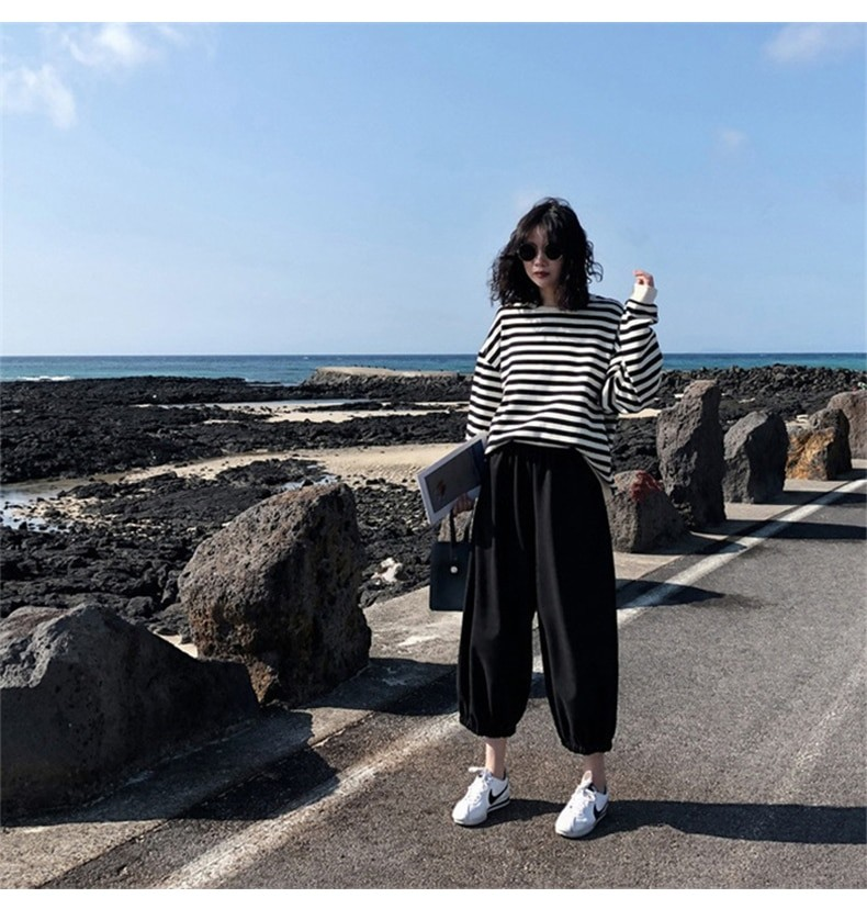 Harajuku E-girl Grunge striped cotton Sweatshirt 53