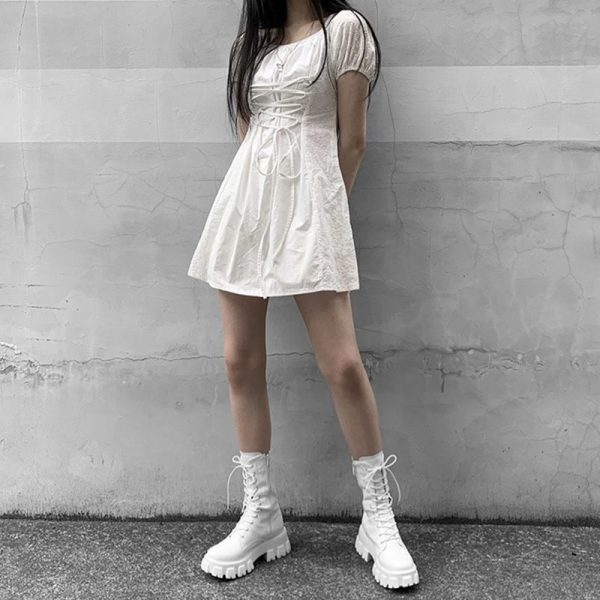E-girl Gothic Punk Mid Calf Boots 3