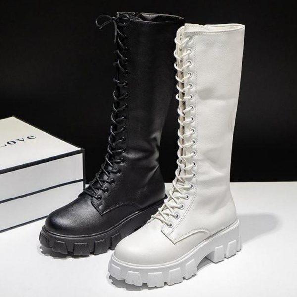 E-girl Gothic Punk Knee-high Pu Boots 5