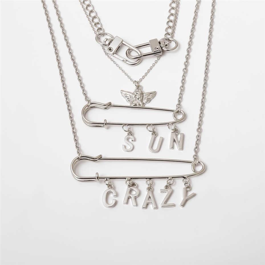 E-girl E-boy Punk Gothic Big Lock Key Angel Pendant Necklace 55