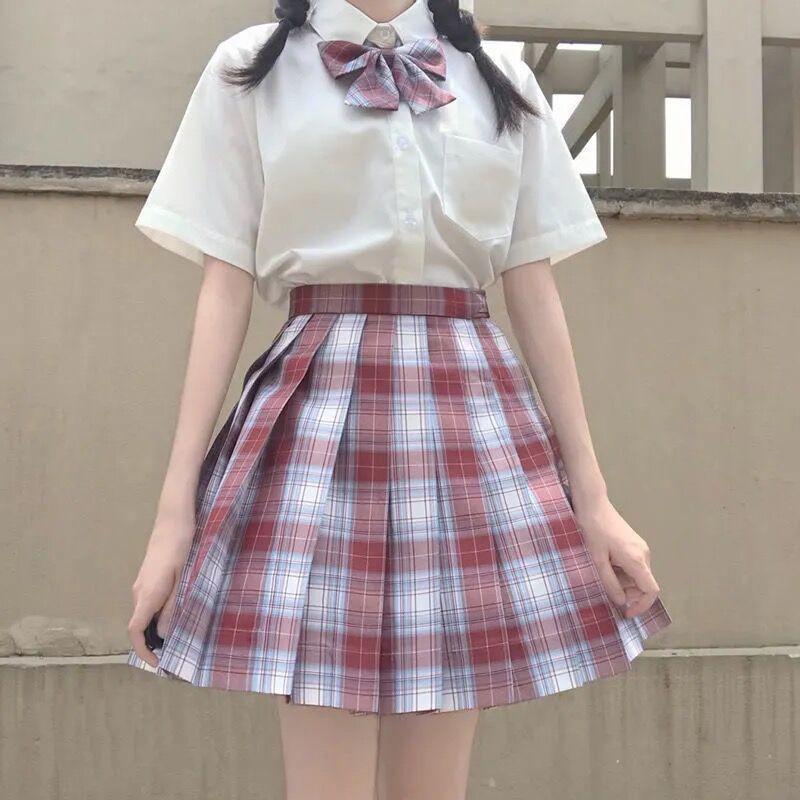 Harajuku E-girl Soft girl Pleated A-Line Plaid Skirts 51